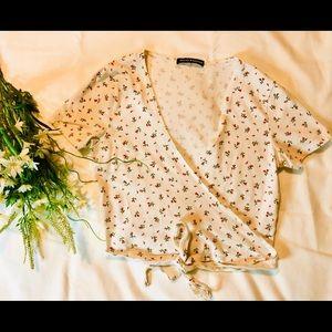 BRANDY MELVILLE floral wrap top